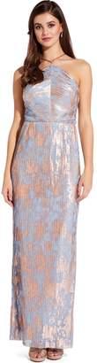 Adrianna Papell Multi Slate Pleated Foil Maxi Dress