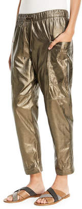 Brunello Cucinelli Metallic Leather Ankle Jogger Pants