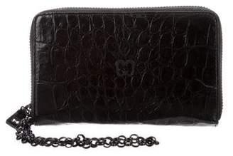 Eric Javits Embossed Leather Zip Wallet
