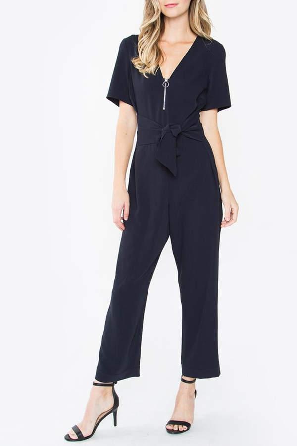 Zip-Front Jumpsuit, Navy