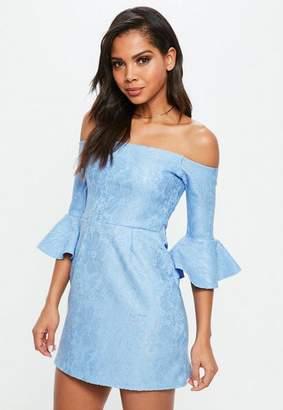 Missguided Blue Bardot Lace Frill Mini Dress