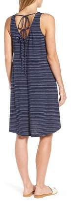 Caslon Stripe Cotton Blend Trapeze Dress (Regular & Petite)