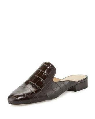MICHAEL Michael Kors Natasha Crocodile-Embossed Slide Loafer, Dark Chocolate $135 thestylecure.com