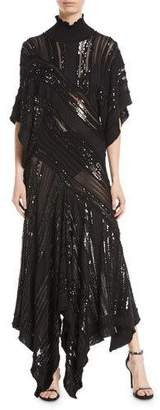 Roberto Cavalli Mock-Neck Short-Sleeve Beaded Knit Evening Gown
