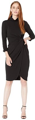 Tahari ASL Stretch Crepe Mock Neck Dress with Side Wrap and Cinched Sleeve Detail