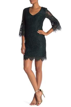 Trina Turk Avenue 3\u002F4 Sleeve Lace Sheath Dress