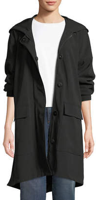 Eileen Fisher Hooded Long-Sleeve A-Line Coat w/ Dual-Front Closure & Pockets, Petite