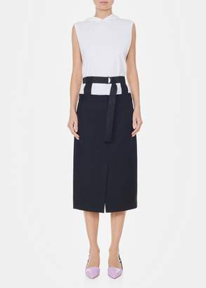 Tibi Serge Suiting Trouser Skirt with Removable Corset Belt