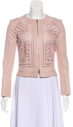 Jitrois Leather Lace-Trimmed Jacket