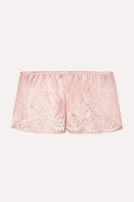 I.D. Sarrieri Hôtel Particulier Chantilly Lace-trimmed Silk-blend Satin Pajama Shorts - Pastel pink