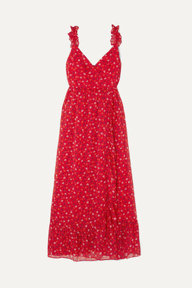 Madewell Wrap-effect Ruffled Floral-print Chiffon Dress - Red