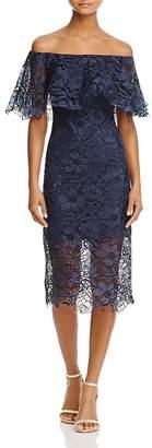 Tadashi Shoji Off-the-Shoulder Lace Flounce Dress $348 thestylecure.com
