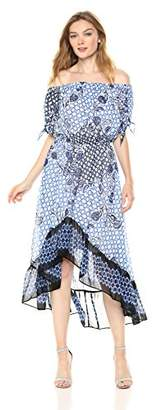 Nine West Women's Off The Shoulder HIGH-Low Dress Sleeve TIE Detail