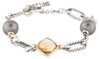 David Yurman Pearl & Citrine Figaro Link Bracelet