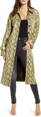 J.o.a. Long Snake Print Trench Coat