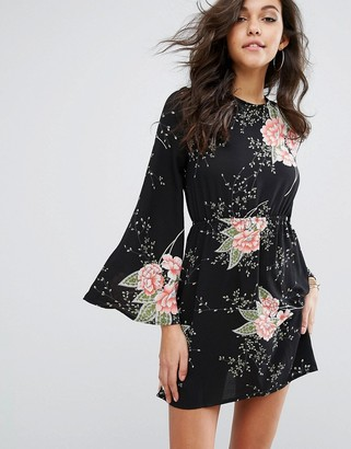PrettyLittleThing Fluted Sleeve Floral Smock Dress $38 thestylecure.com