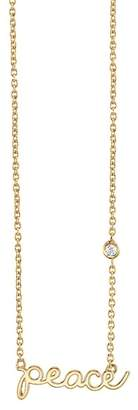 Sydney Evan Syd by 14K Yellow Gold Plated Sterling Silver Diamond 'Peace' Pendant Necklace - 0.015 ctw