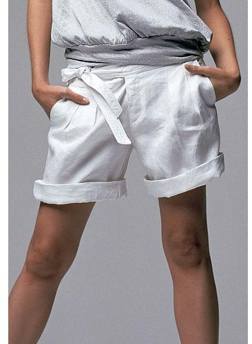 Et Vous Cuffed Linen Tie-belt Shorts