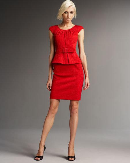 Kay Unger New York Boatneck Peplum Dress