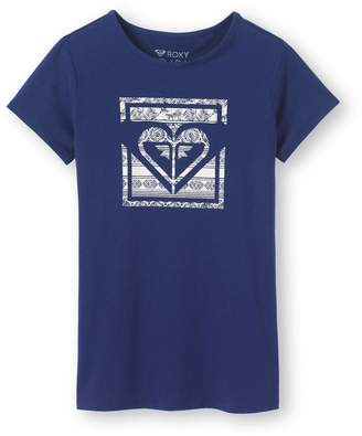 Roxy Crew Neck T-Shirt with Printed Pattern, 8-10 Years
