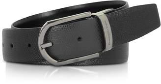 Ermenegildo Zegna Black Lizard Embossed Leather Adjustable Belt