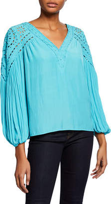 Ramy Brook Komi V-Neck Long-Sleeve Eyelet Blouse