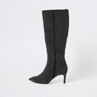 River Island Black rhinestone embellished knee high boots