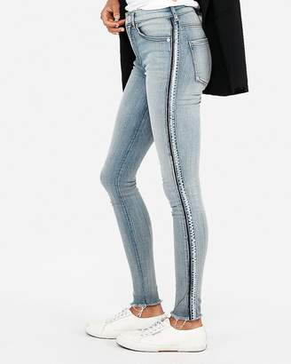 Express High Waisted Side Stripe Denim Perfect Stretch+ Jean Leggings