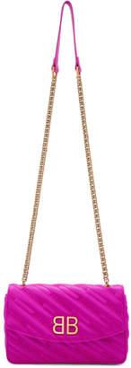 Balenciaga Pink Satin BB Chain Wallet Bag