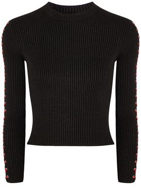 Alexander McQueen Lace-up Ribbed Silk-blend Top