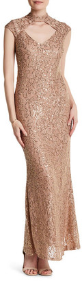 Marina Lace Mock Neck Gown $179 thestylecure.com