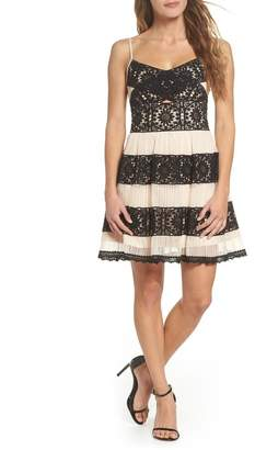 Foxiedox Ophelia Two-Tone Lace Fit & Flare Dress