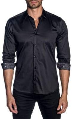 Jared Lang Woven Patterned Trim-Fit Button-Down Shirt