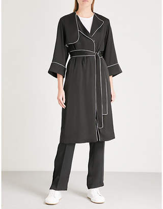Mo&Co. Contrast-piping satin trench coat