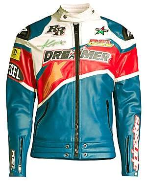 Diesel Men's Stars Patch Leather Moto Jacket