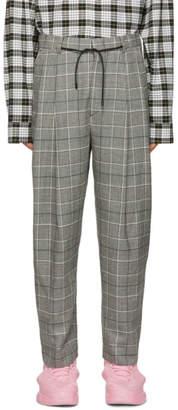 Juun.J Black and Grey Plaid Trousers