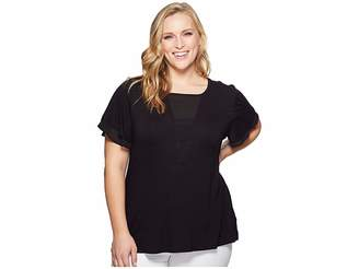 Bobeau B Collection by Plus Size Dylan Mixed Media Flutter Sleeve Women's Short Sleeve Pullover