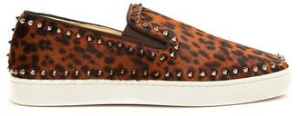 Christian Louboutin Pik Boat Slip On Calf Hair Trainers - Mens - Brown Multi