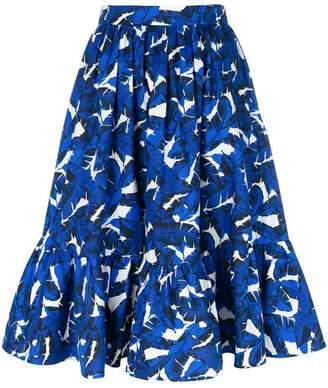 MSGM leaf print high-waisted skirt