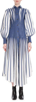 Loewe Long Puff-Sleeve Fitted-Waist Long Poplin Shirtdress w/ Leather Stripes