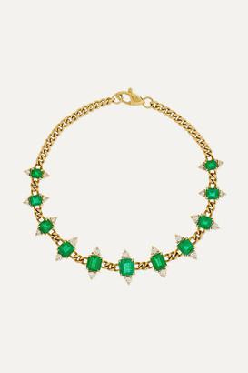 Jemma Wynne Toujours 18-karat Gold, Emerald And Diamond Bracelet - one size