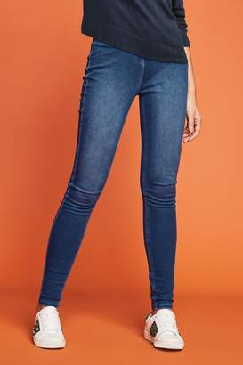 Next Womens Dark Blue Jersey Denim Leggings - Blue