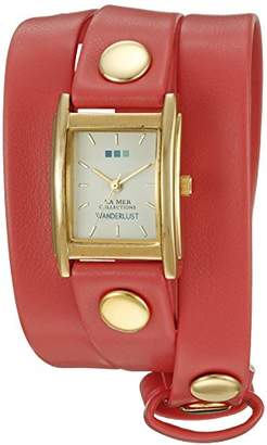 La Mer 00108 Wanderlust Gold-Tone Watch with Synthetic Leather Bracelet