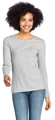Lands' End Women's Long Sleeve 1x1 Rib Crewneck T-Shirt
