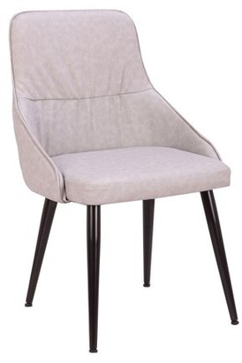 Lumisource Alden Contemporary Dining/Accent Chair in Grey Faux Leather with Quilted Backrest by Set of 2