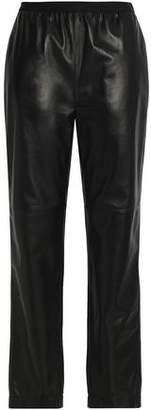 Maison Margiela Gathered Leather Straight-Leg Pants