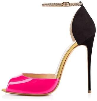Nansay Women's Shoes Big Size Stiletto High Heels Buckle Strap Peep Toe Ladies Pumps Cover Heel Sandals Patent US10