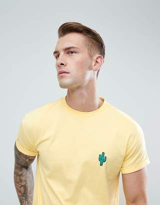 New Look T-Shirt With Cactus Embroidery In Yellow