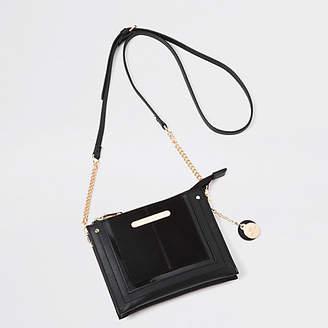 River Island Black mini zip cross body pouch bag