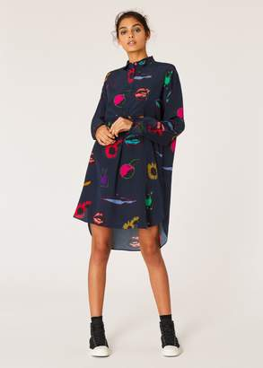 Women's Navy 'Artful Lives' Print Silk Shirt Dress
